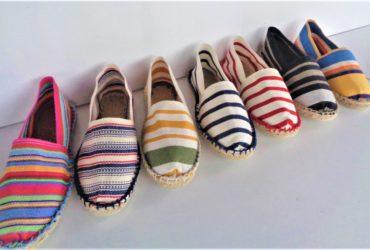 Espadrilles rayées artisanales fabriquées à Mauléon 12.50 euros